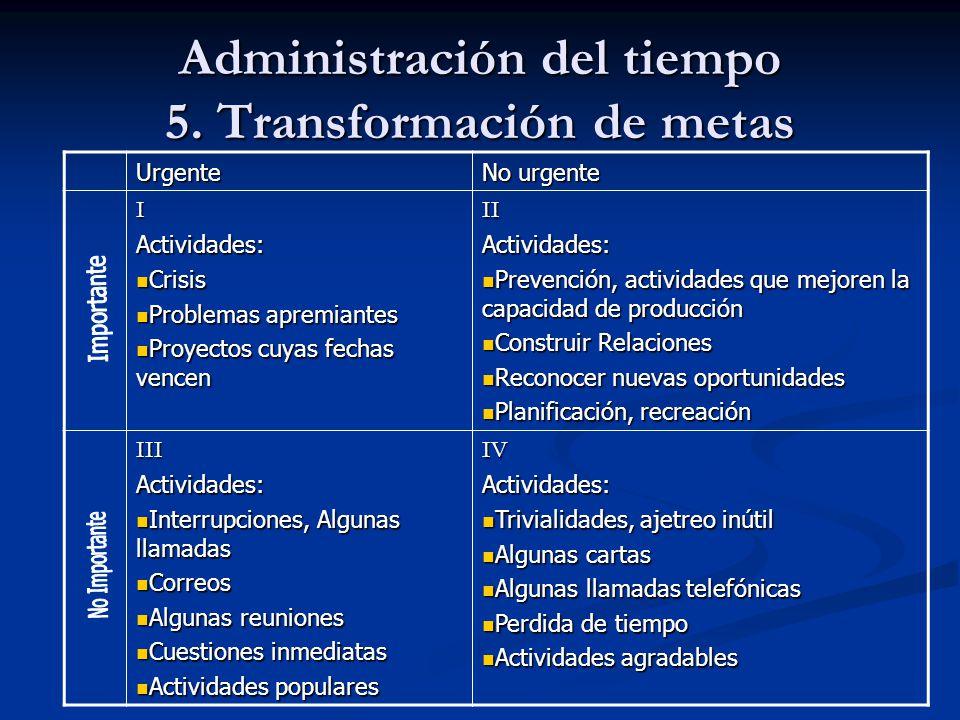 Administración del tiempo 5. Transformación de metas