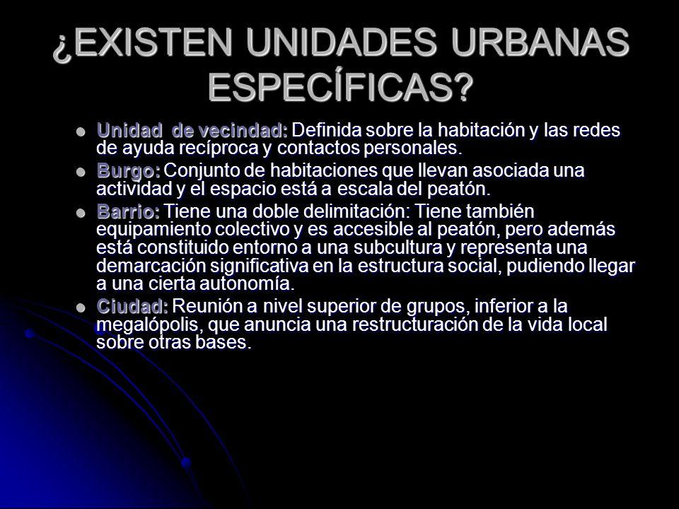 ¿EXISTEN UNIDADES URBANAS ESPECÍFICAS