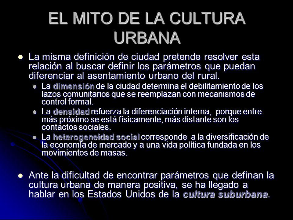 EL MITO DE LA CULTURA URBANA