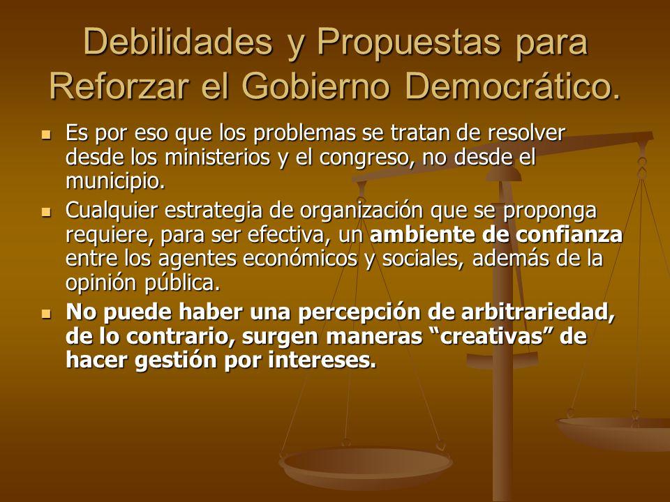 Debilidades y Propuestas para Reforzar el Gobierno Democrático.