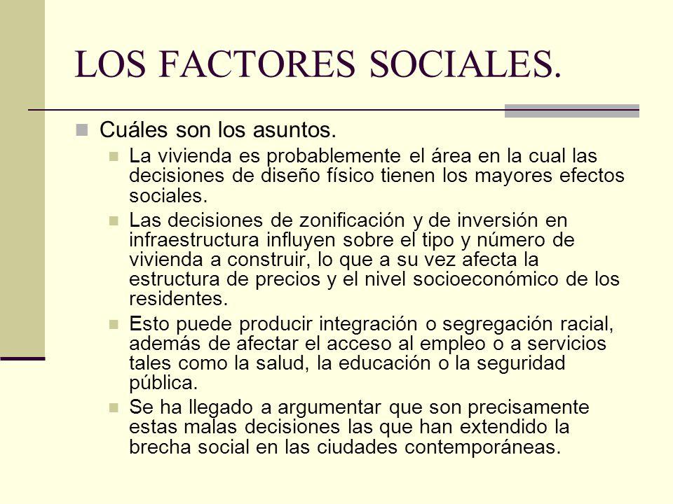 LOS FACTORES SOCIALES. Cuáles son los asuntos.