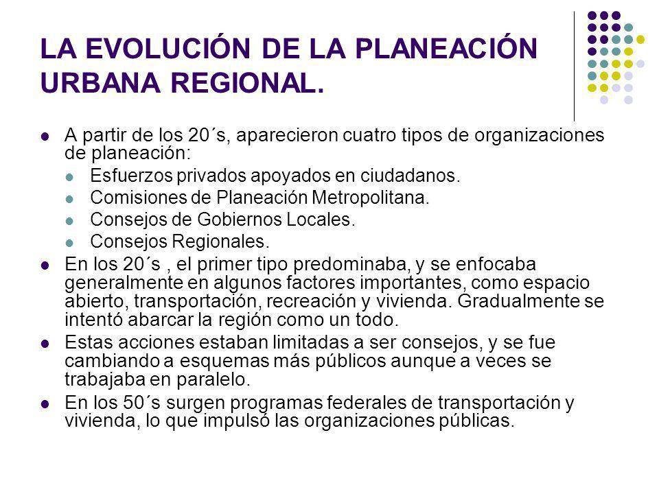 LA EVOLUCIÓN DE LA PLANEACIÓN URBANA REGIONAL.