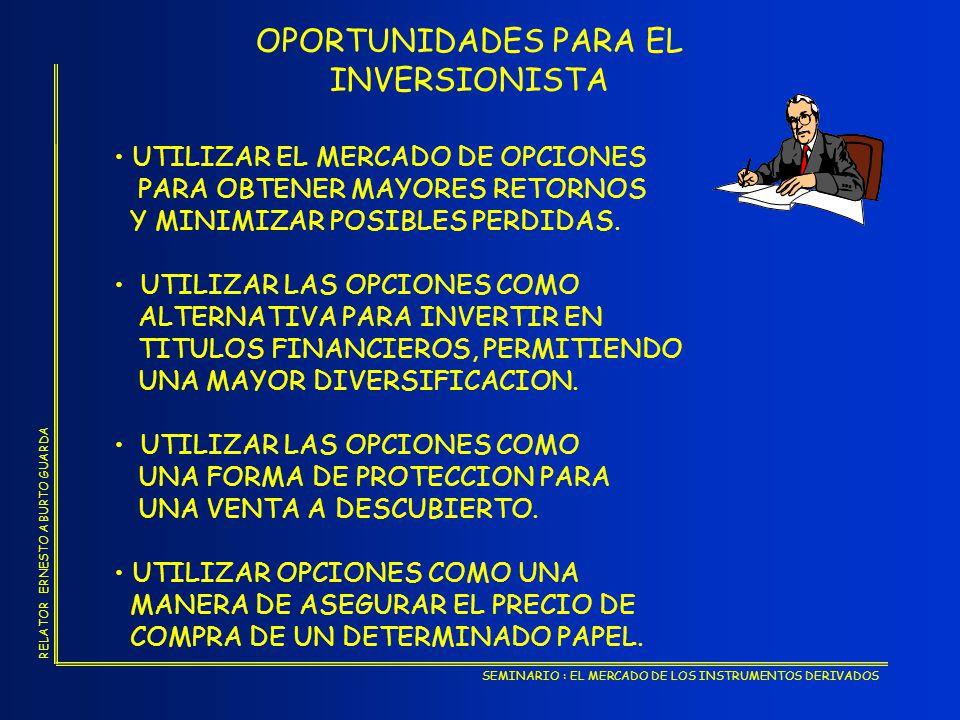 OPORTUNIDADES PARA EL INVERSIONISTA UTILIZAR EL MERCADO DE OPCIONES