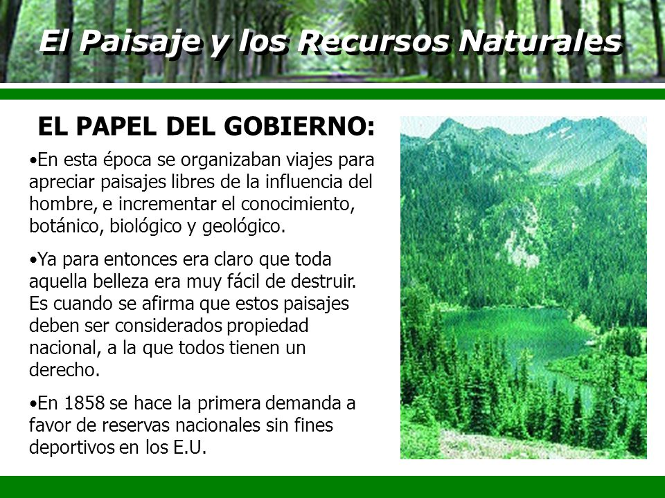 El Paisaje y los Recursos Naturales