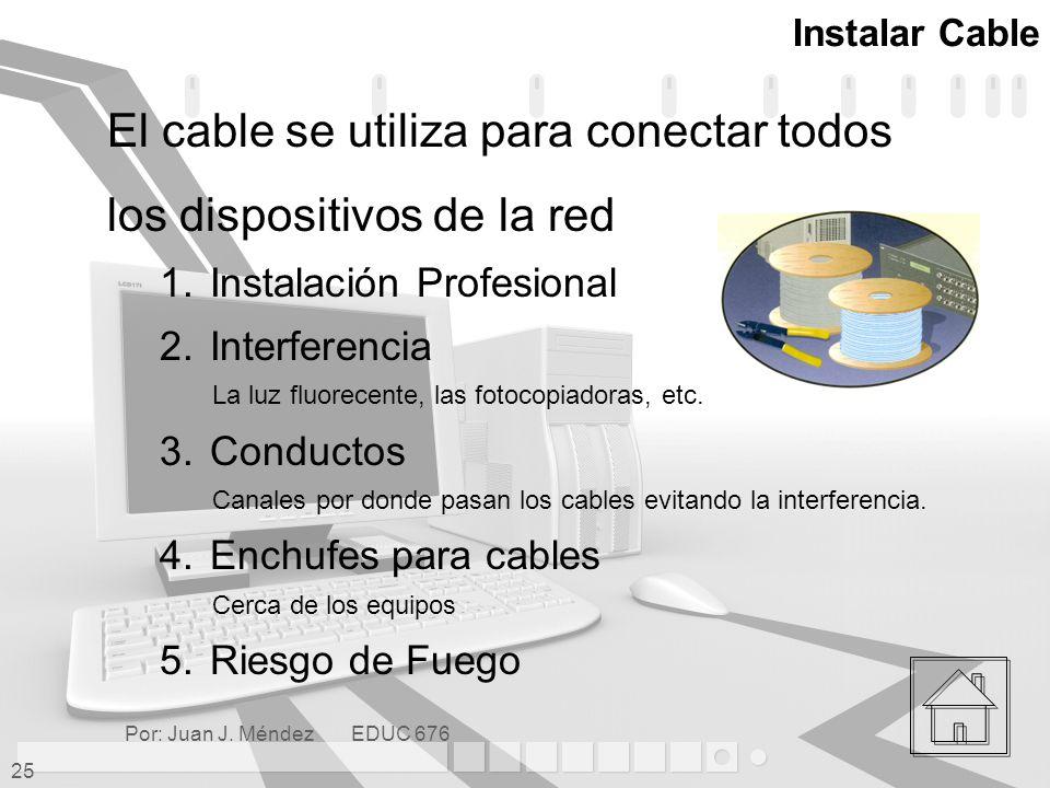 El cable se utiliza para conectar todos los dispositivos de la red
