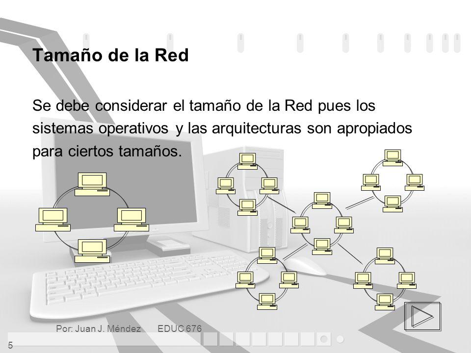 Tamaño de la Red Se debe considerar el tamaño de la Red pues los