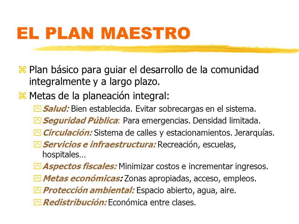 EL PLAN MAESTRO Plan básico para guiar el desarrollo de la comunidad integralmente y a largo plazo.