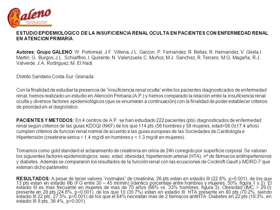 ESTUDIO EPIDEMIOLOGICO DE LA INSUFICIENCIA RENAL OCULTA EN PACIENTES CON ENFERMEDAD RENAL EN ATENCION PRIMARIA