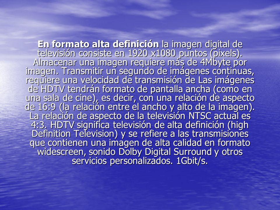 En formato alta definición la imagen digital de televisión consiste en 1920 x1080 puntos (pixels).