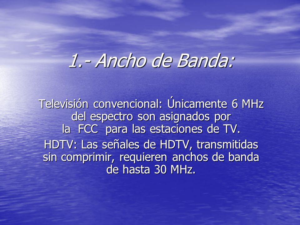 1.- Ancho de Banda: Televisión convencional: Únicamente 6 MHz del espectro son asignados por la FCC para las estaciones de TV.