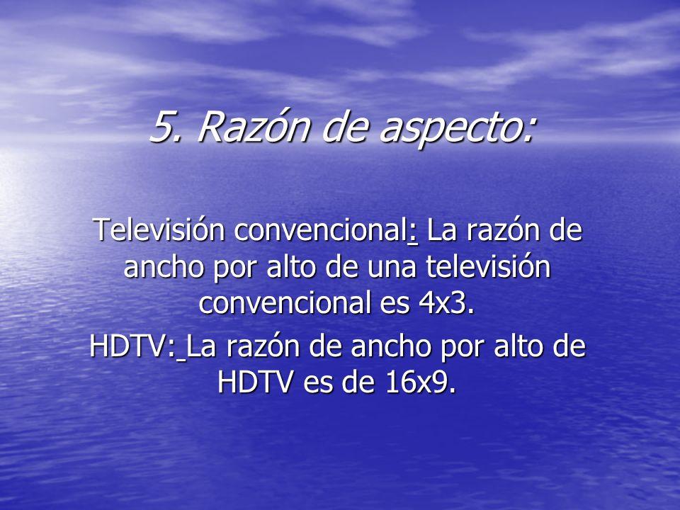 HDTV: La razón de ancho por alto de HDTV es de 16x9.