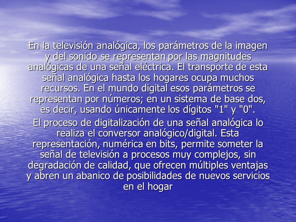 En la televisión analógica, los parámetros de la imagen y del sonido se representan por las magnitudes analógicas de una señal eléctrica. El transporte de esta señal analógica hasta los hogares ocupa muchos recursos. En el mundo digital esos parámetros se representan por números; en un sistema de base dos, es decir, usando únicamente los dígitos 1 y 0 .