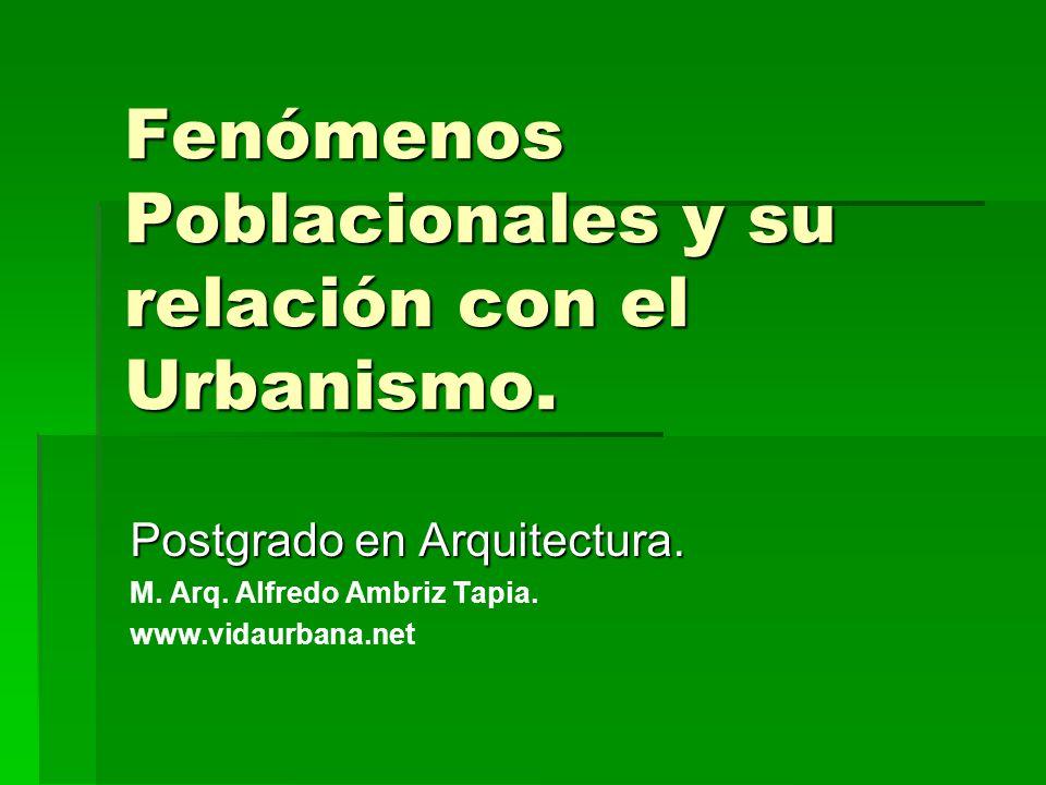 Fenómenos Poblacionales y su relación con el Urbanismo.