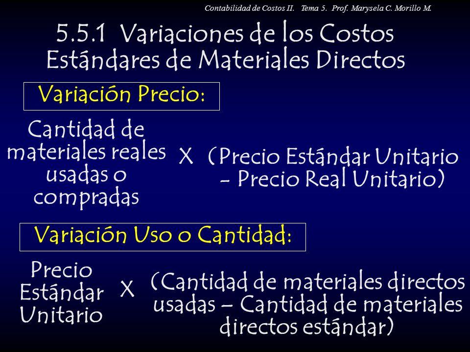 5.5.1 Variaciones de los Costos Estándares de Materiales Directos