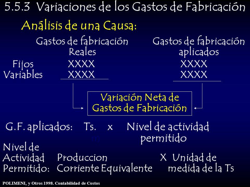 5.5.3 Variaciones de los Gastos de Fabricación Análisis de una Causa: