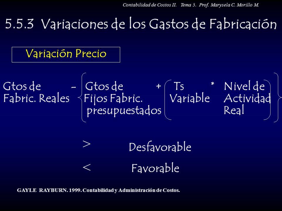 5.5.3 Variaciones de los Gastos de Fabricación