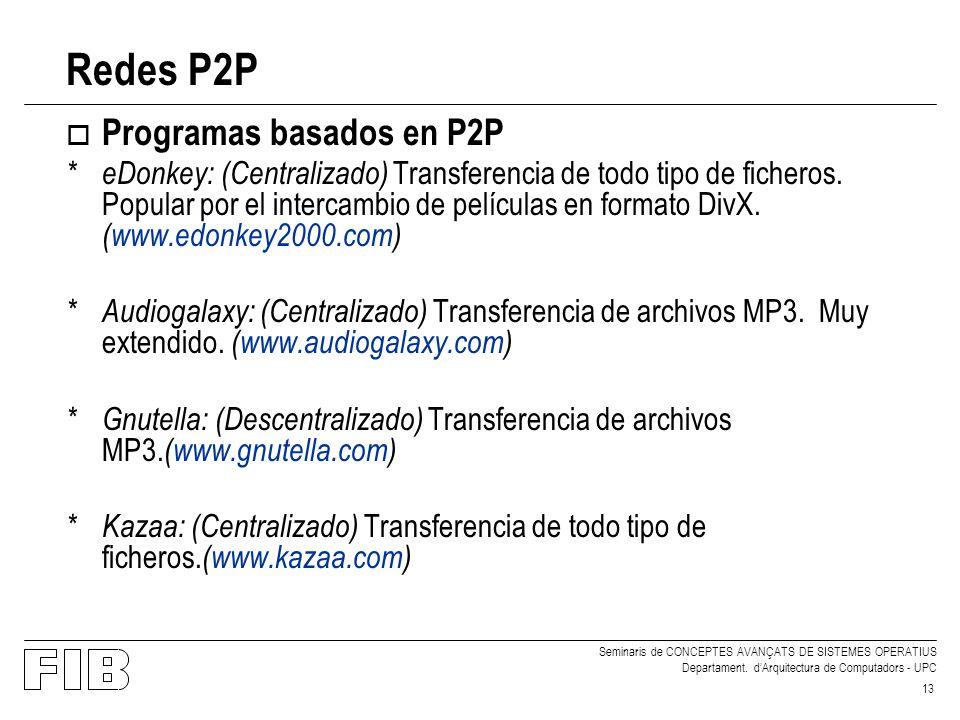 Redes P2P Programas basados en P2P