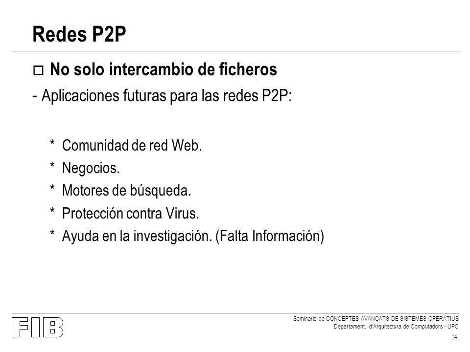Redes P2P No solo intercambio de ficheros