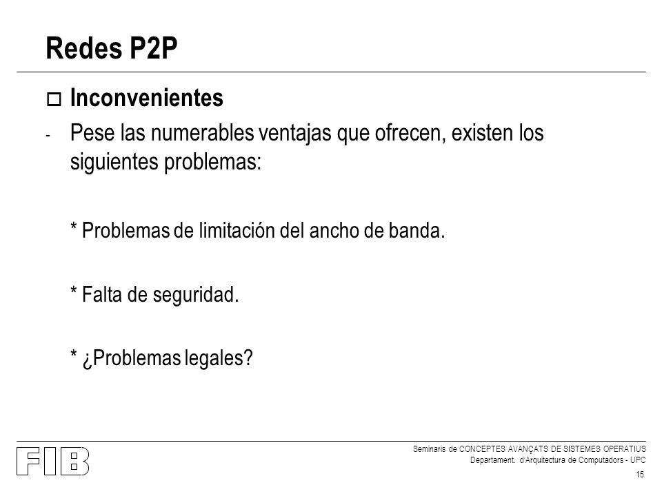 Redes P2P Inconvenientes