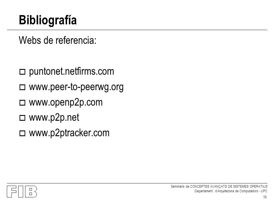 Bibliografía Webs de referencia: puntonet.netfirms.com