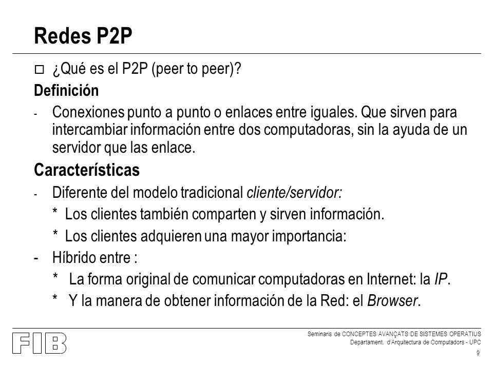 Redes P2P Características ¿Qué es el P2P (peer to peer) Definición