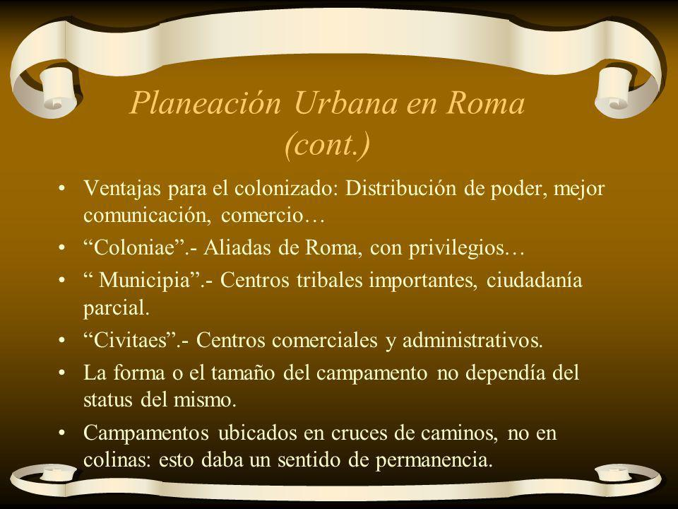 Planeación Urbana en Roma (cont.)