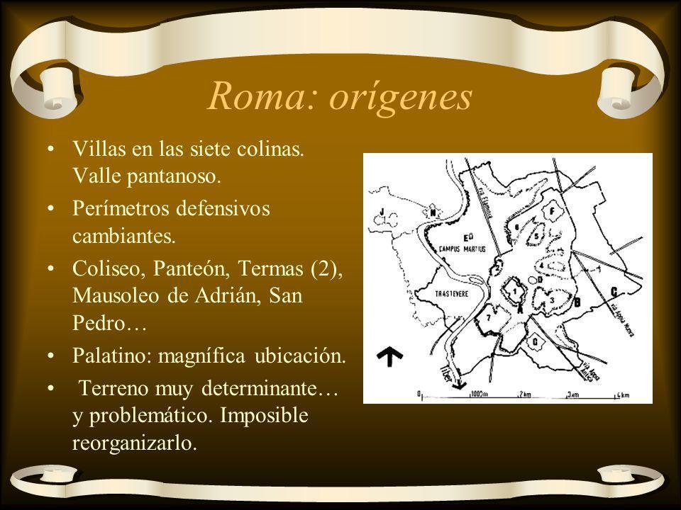 Roma: orígenes Villas en las siete colinas. Valle pantanoso.