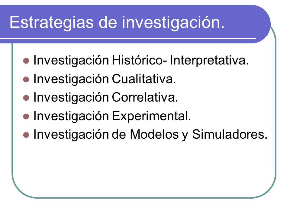 Estrategias de investigación.