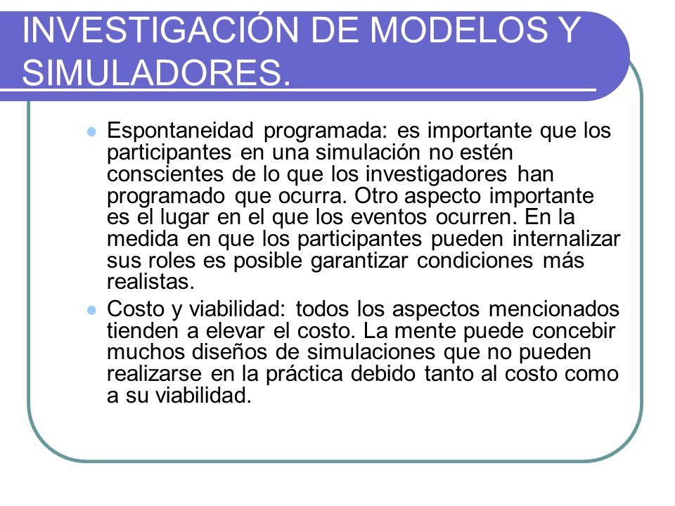 INVESTIGACIÓN DE MODELOS Y SIMULADORES.