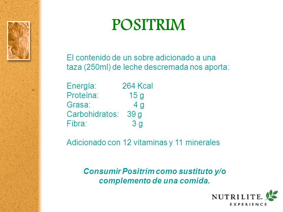 Consumir Positrim como sustituto y/o complemento de una comida.