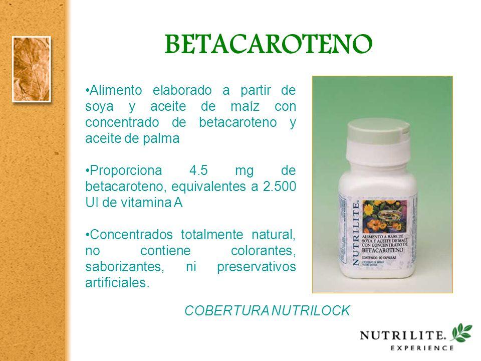 BETACAROTENO Alimento elaborado a partir de soya y aceite de maíz con concentrado de betacaroteno y aceite de palma.
