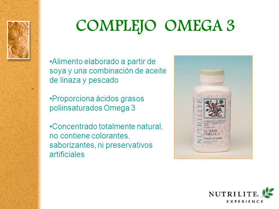 COMPLEJO OMEGA 3 Alimento elaborado a partir de soya y una combinación de aceite de linaza y pescado.