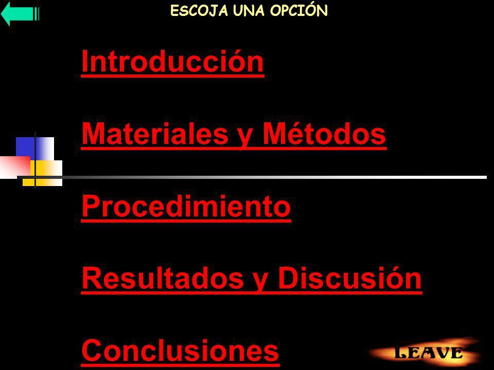 ESCOJA UNA OPCIÓN Introducción Materiales y Métodos Procedimiento Resultados y Discusión Conclusiones.