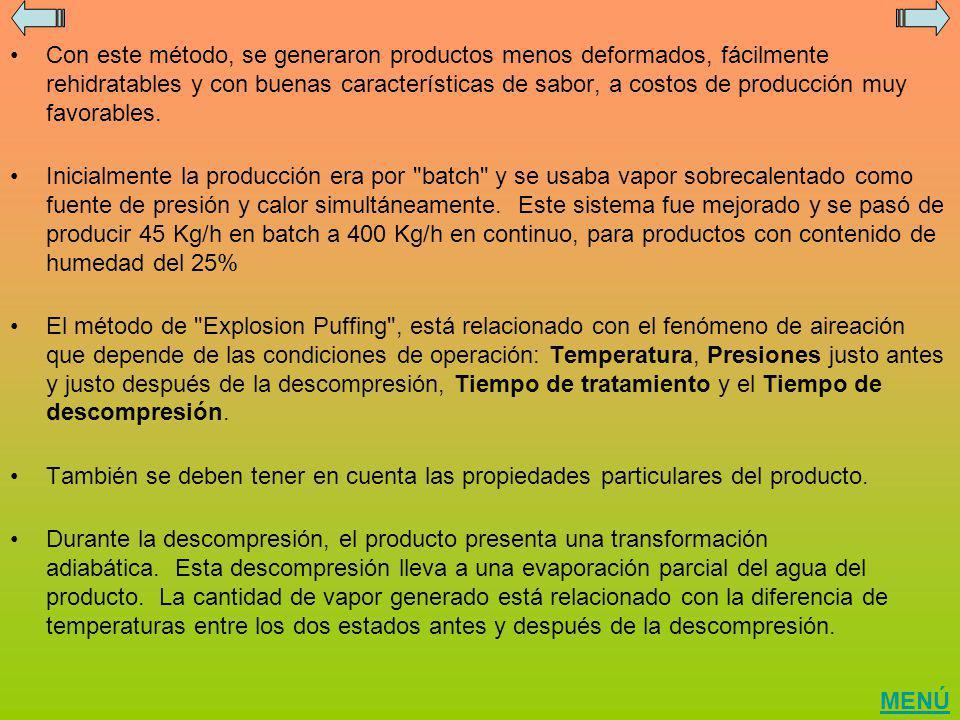Con este método, se generaron productos menos deformados, fácilmente rehidratables y con buenas características de sabor, a costos de producción muy favorables.