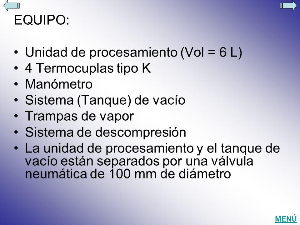 Unidad de procesamiento (Vol = 6 L) 4 Termocuplas tipo K Manómetro