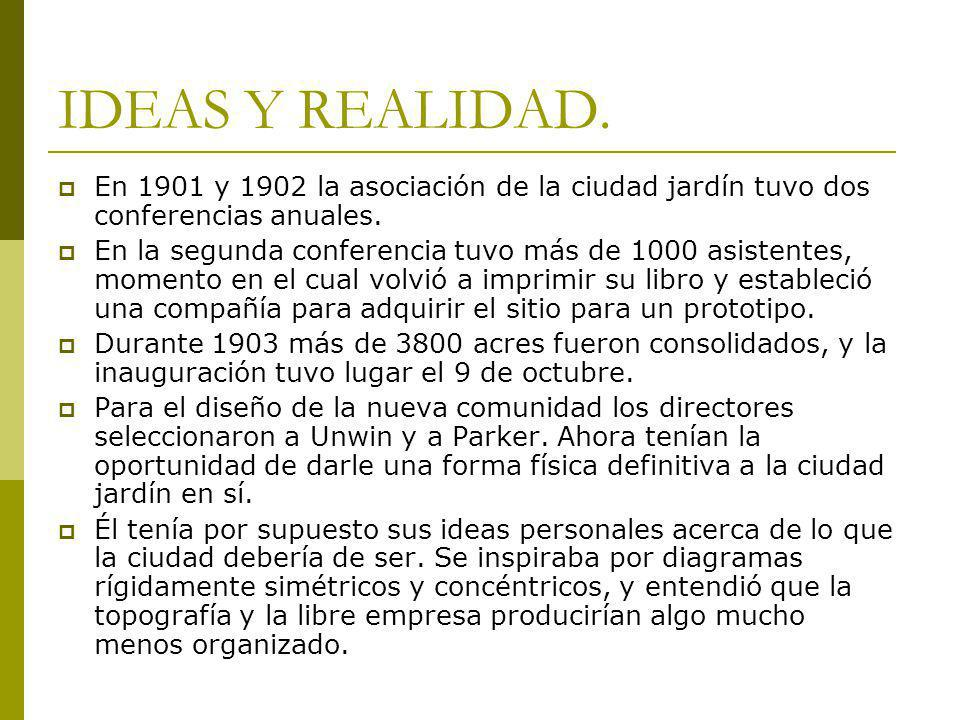 IDEAS Y REALIDAD. En 1901 y 1902 la asociación de la ciudad jardín tuvo dos conferencias anuales.