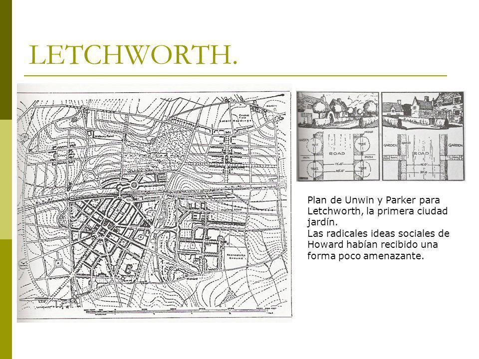 LETCHWORTH. Plan de Unwin y Parker para Letchworth, la primera ciudad jardín.