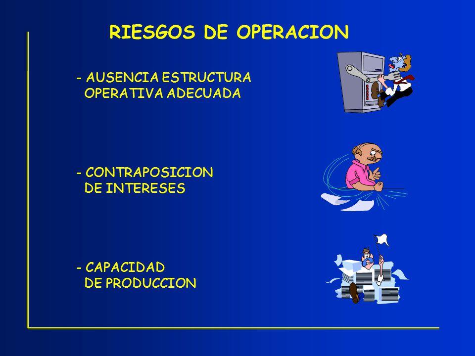 RIESGOS DE OPERACION - AUSENCIA ESTRUCTURA OPERATIVA ADECUADA