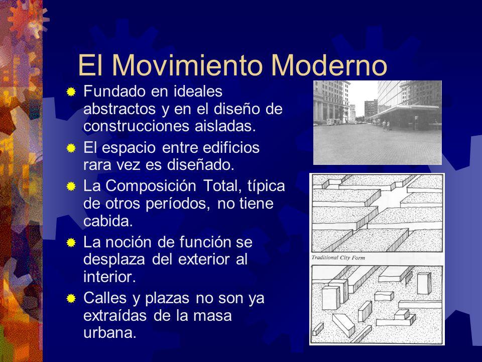 El Movimiento Moderno Fundado en ideales abstractos y en el diseño de construcciones aisladas. El espacio entre edificios rara vez es diseñado.