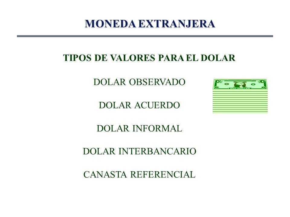 MONEDA EXTRANJERA TIPOS DE VALORES PARA EL DOLAR DOLAR OBSERVADO