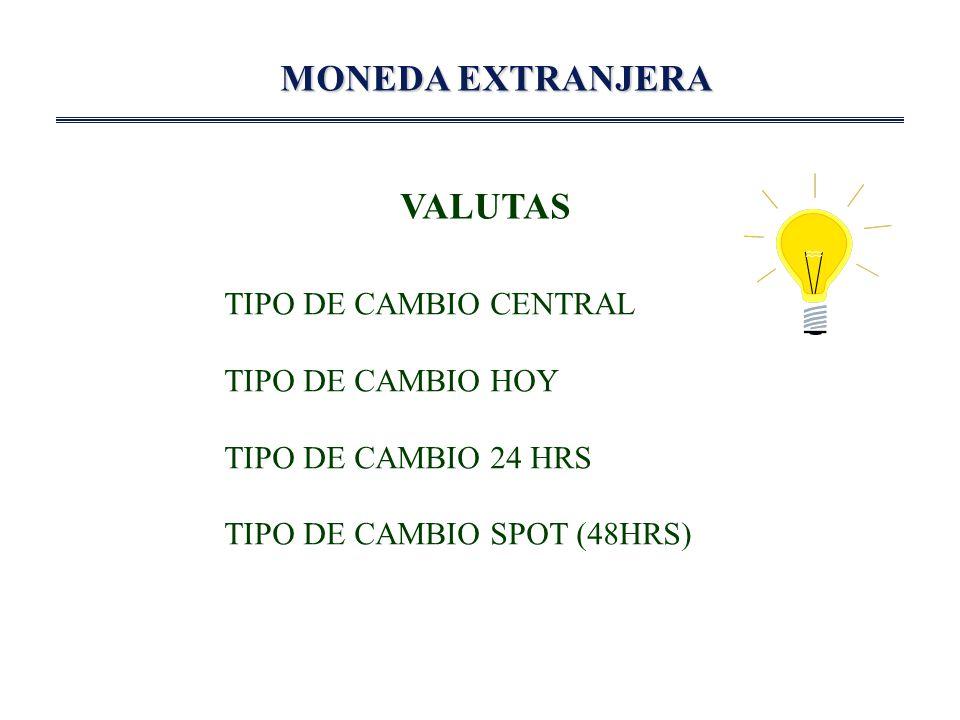 MONEDA EXTRANJERA VALUTAS TIPO DE CAMBIO CENTRAL TIPO DE CAMBIO HOY