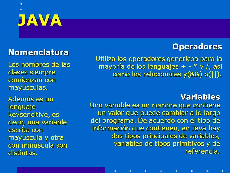 JAVA Operadores Nomenclatura Variables