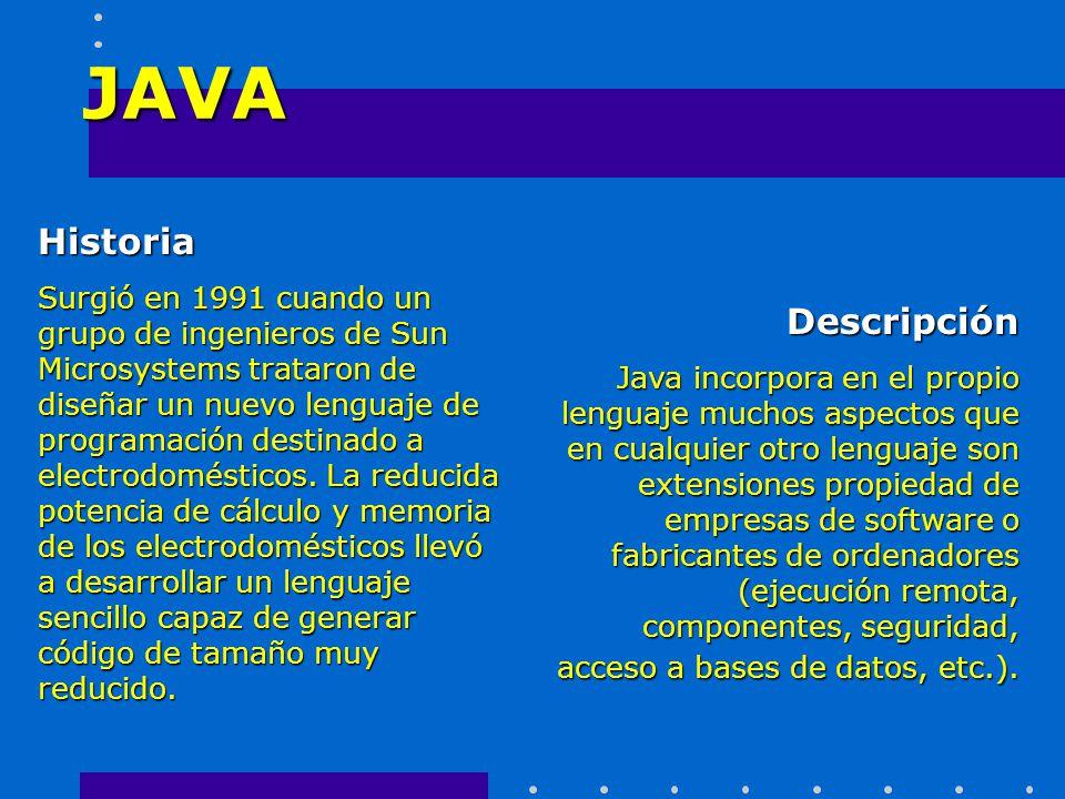 JAVA Historia Descripción
