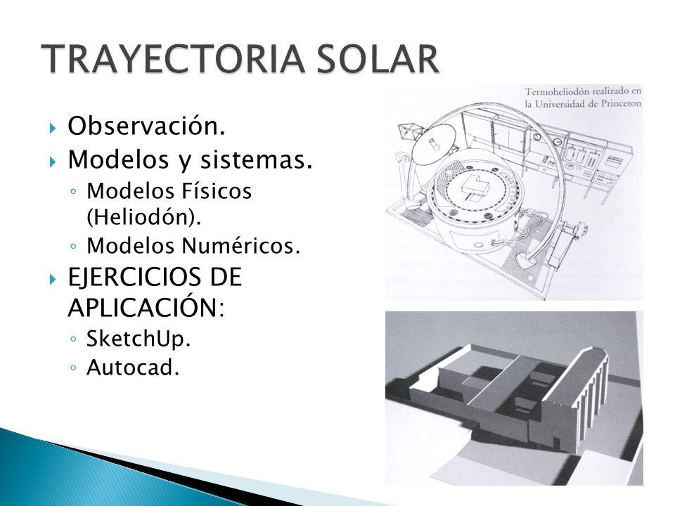 TRAYECTORIA SOLAR Observación. Modelos y sistemas.