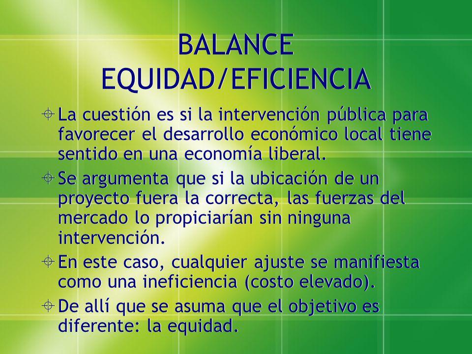 BALANCE EQUIDAD/EFICIENCIA