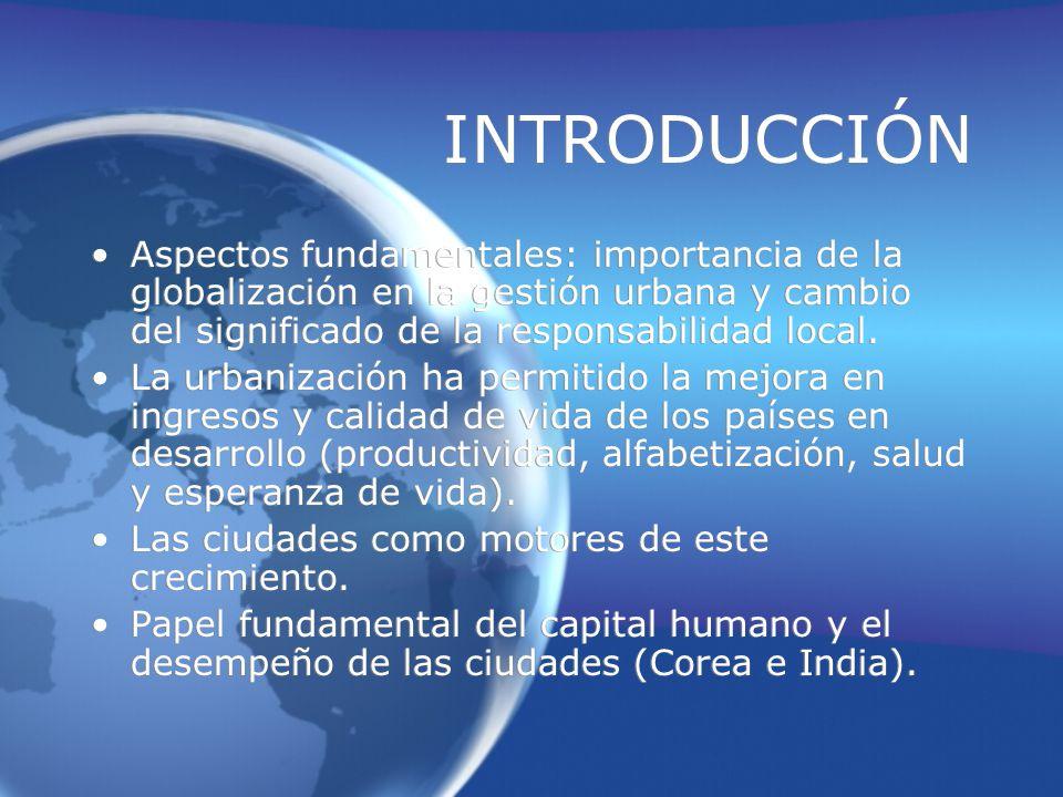 INTRODUCCIÓN Aspectos fundamentales: importancia de la globalización en la gestión urbana y cambio del significado de la responsabilidad local.