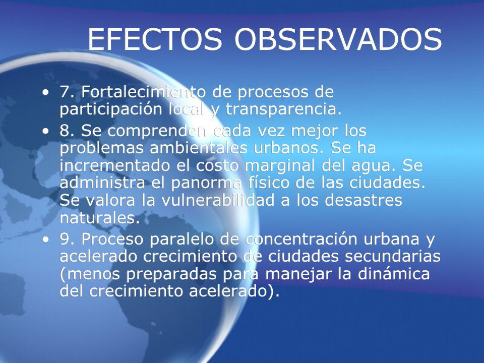 EFECTOS OBSERVADOS 7. Fortalecimiento de procesos de participación local y transparencia.