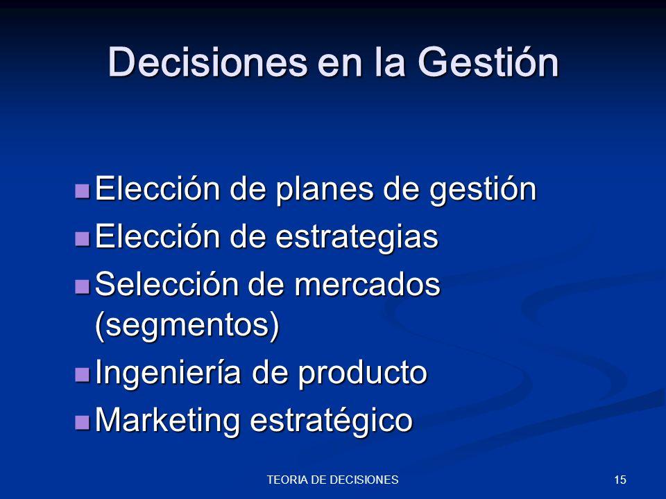 Decisiones en la Gestión