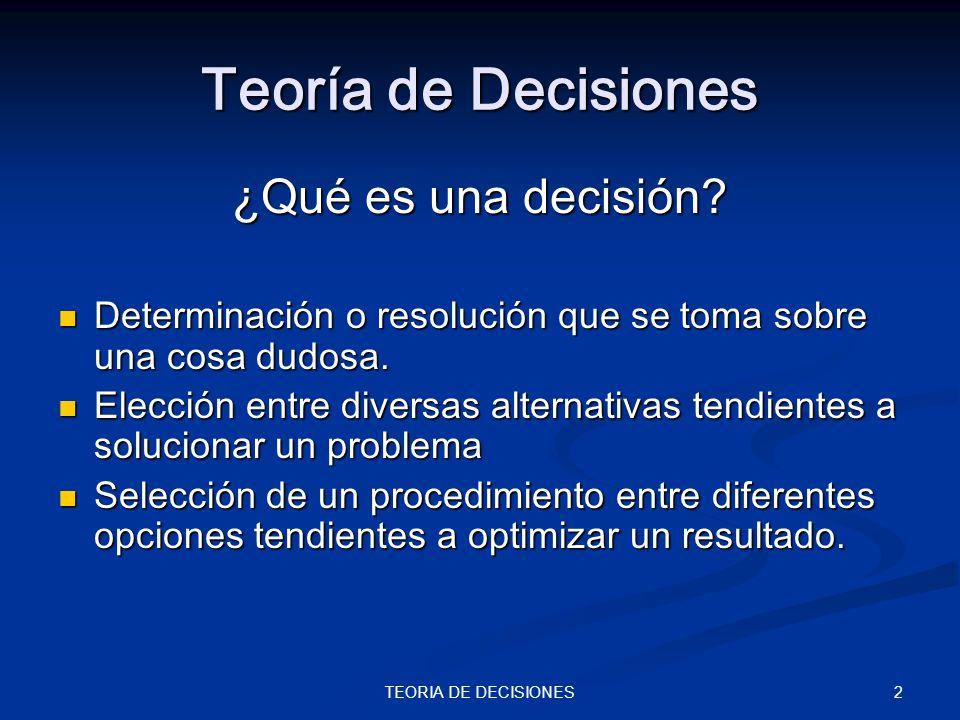 Teoría de Decisiones ¿Qué es una decisión