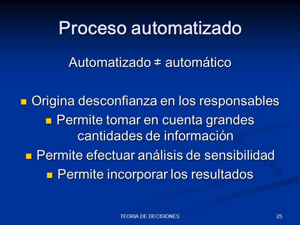 Proceso automatizado Automatizado ≠ automático
